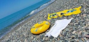 Sarpi beach with towels