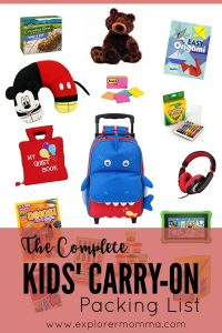 The complete kids' carry on packing list can be a lifesaver for family travel. Be prepared with kids on an airplane. #familytravel #packinglist