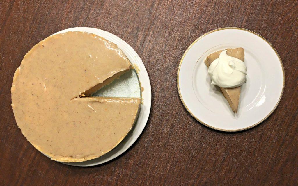 No-bake pumpkin cheesecake overhead