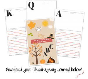 Kids' Thanksgiving journal with msg
