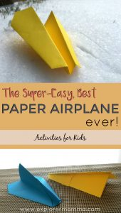 Best paper airplane tutorial ever for a kids winter activity. A great kids game that works indoors. #paperairplane #paperairplanetutorial