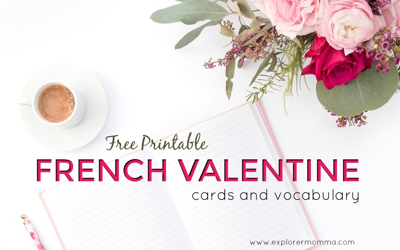 Printable French Valentine cards feature
