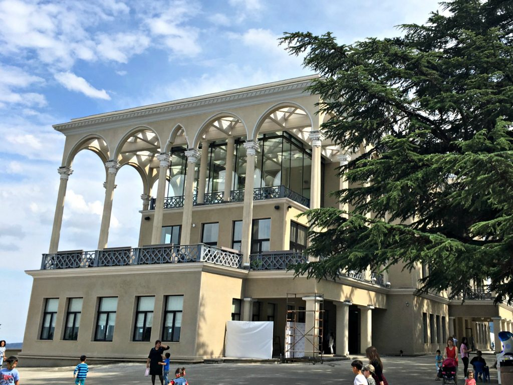 Tbilisi Funicular Restaurant with blue sky