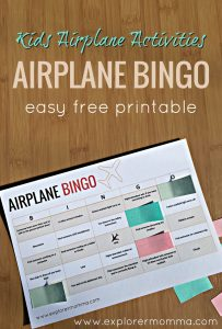 Kids airplane activities airplane BINGO printout on desk