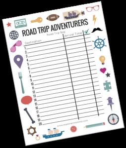 Road trip bag free printable preview