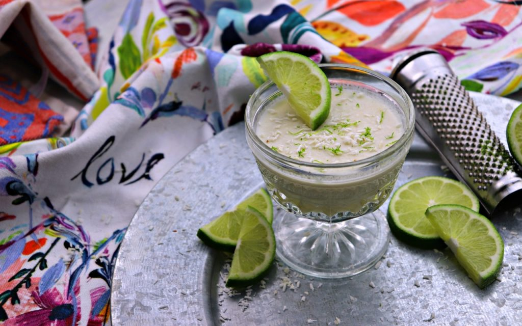 Coconut lime dessert mousse with tea towel