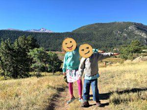 Family camping trip, kids hiking