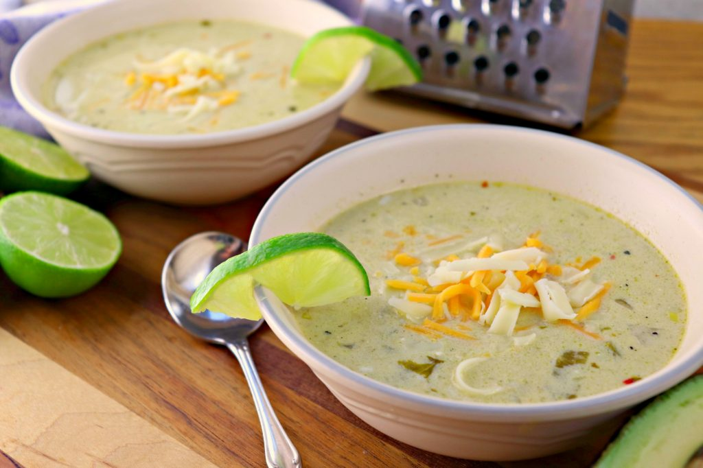 Green chili chicken chowder for two