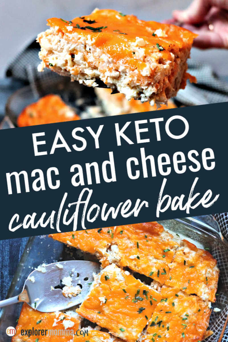 Easy keto mac and cheese cauliflower bake. With cream cheese, garlic, eggs, and cheddar cheese, it's a delicious low carb side or main meal. #ketorecipes #ketomacandcheese #ketodinners