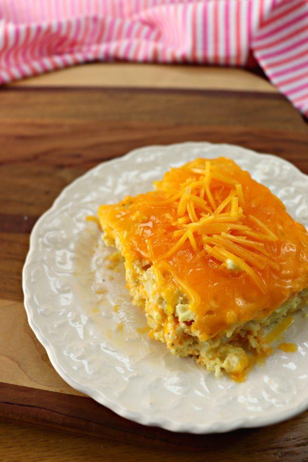 Cauliflower mac and cheese bake, vertical piece