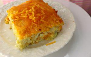 Cauliflower mac and cheese bake, close-up, feature