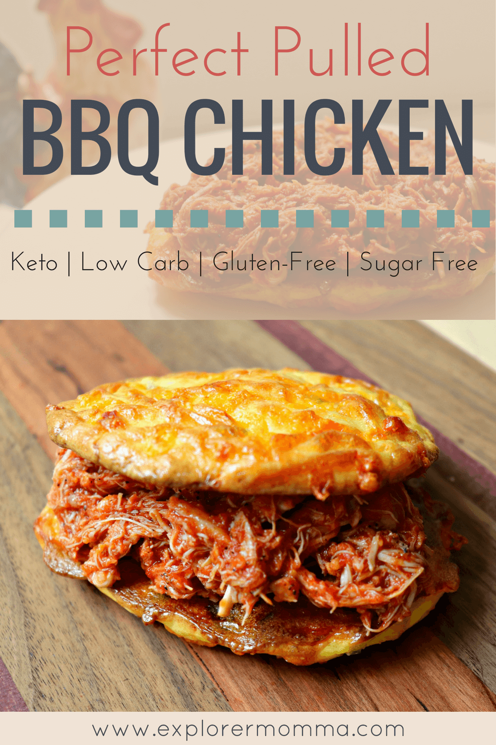 Perfect slow-cooker pulled BQ chicken is a fabulous family-friendly low carb meal and also works with a keto diet. Easy and delicious recipe #lowcarbchicken #lowcarbdinner