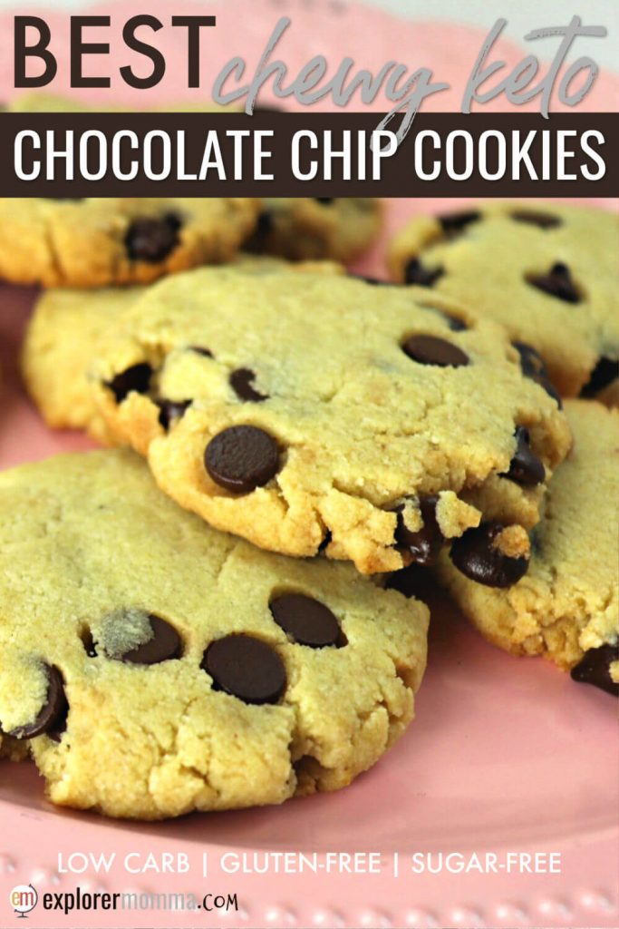 Soft low carb chocolate chip cookies are the perfect snack for a cookie craving. Grab one and stay on that keto diet easily. #ketocookies #chocolatechipcookies