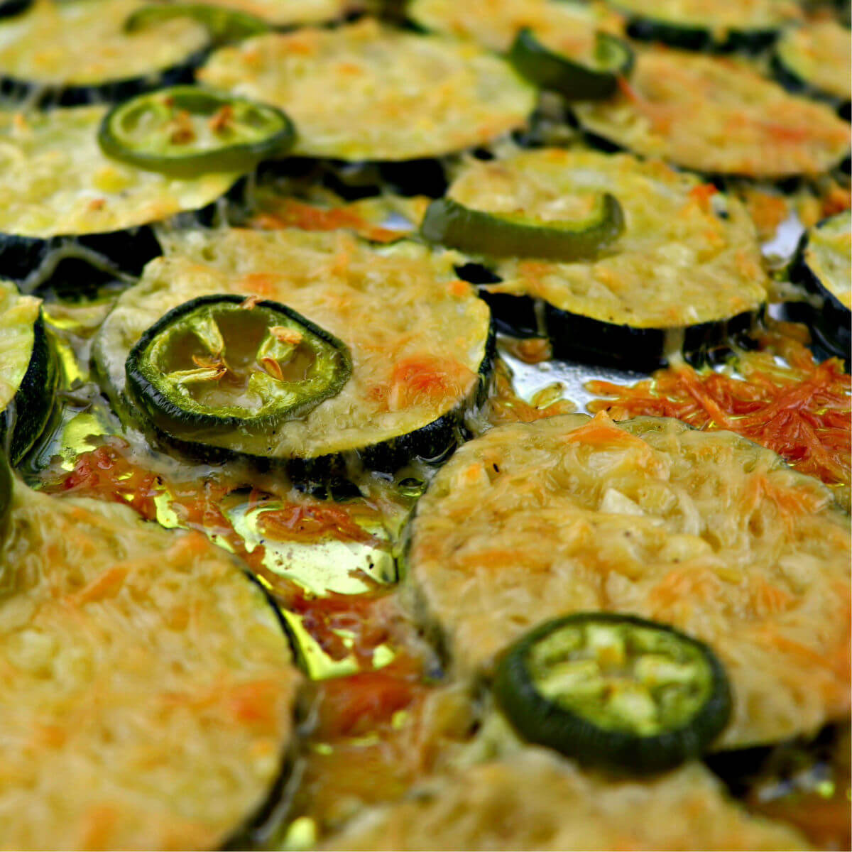 Pan of low carb garlic parmesan zuccini