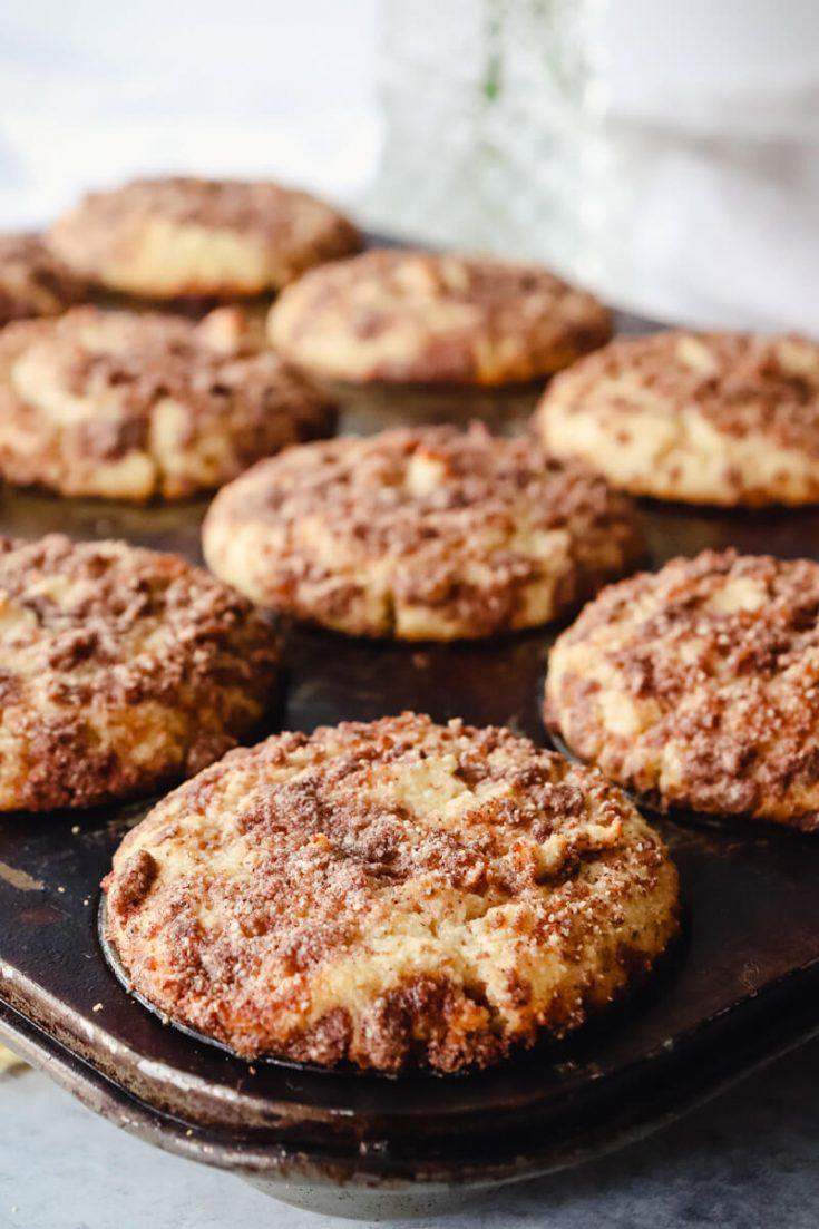 Pan of keto coffee cake muffins