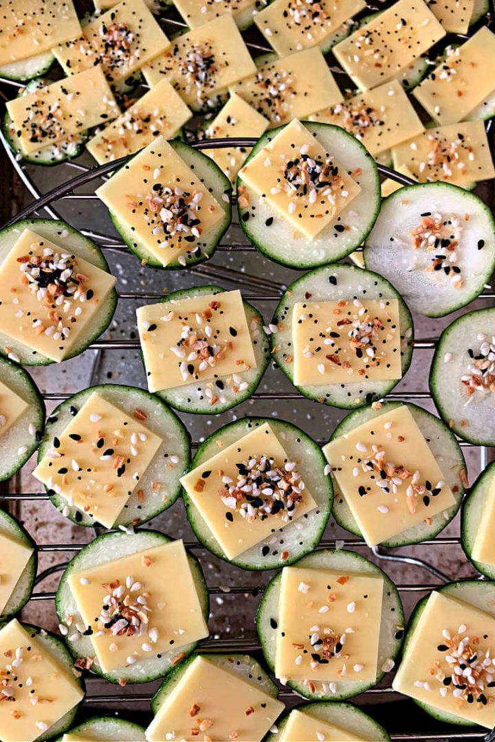 Low carb garlic parmesan zucchini, everything bagel seasoning