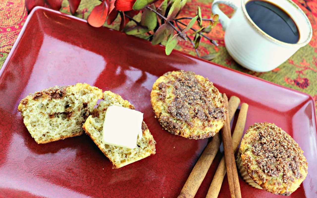 Muffin with butter, Low carb coffee cake muffins, feature