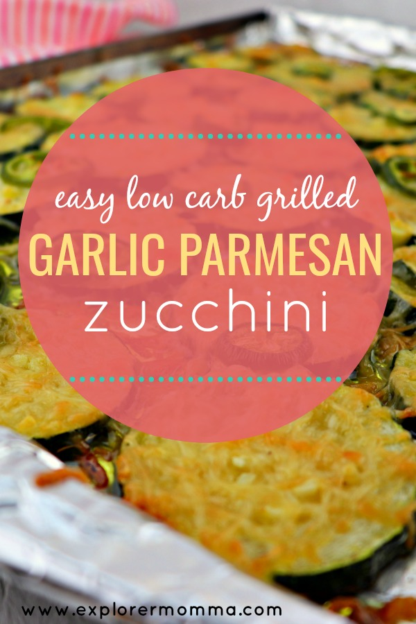 Easy low carb grilled garlic parmesan zucchini. The perfect keto side dish recipes for summer! Try this gluten-free zucchini recipe on the grill or in the oven. Family-friendly and perfect for using those garden zucchini. #zucchinirecipes #ketosides
