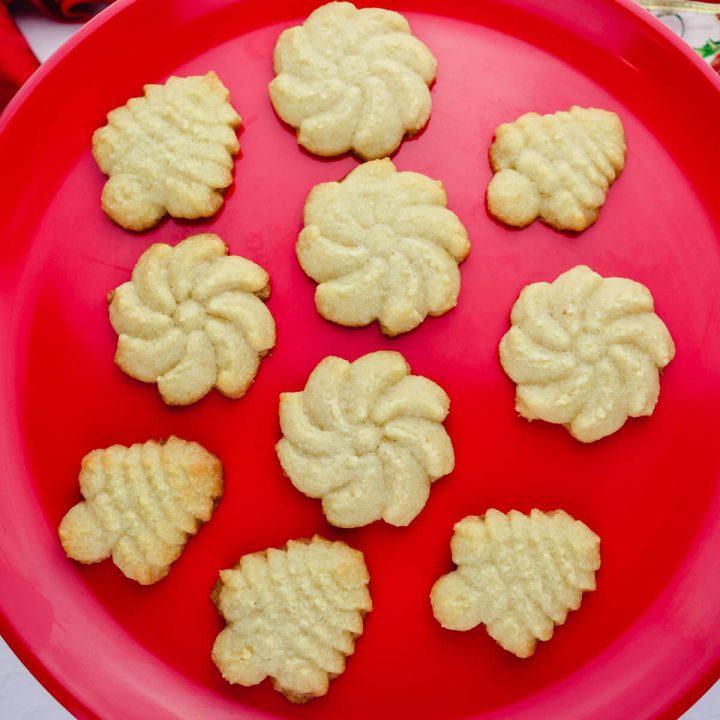 Keto butter spritz cookies overhead