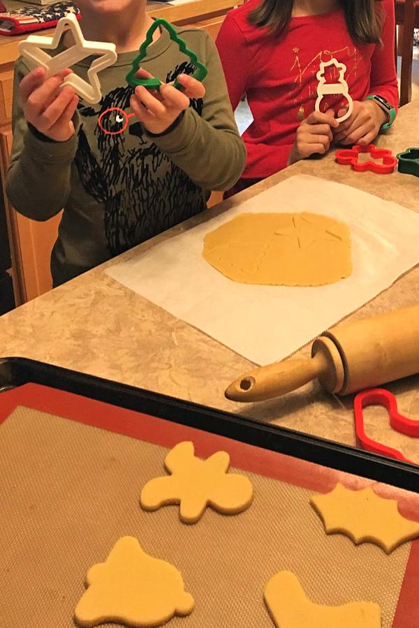 Kids making keto cut out sugar cookies. #kidsbake #ketocookies