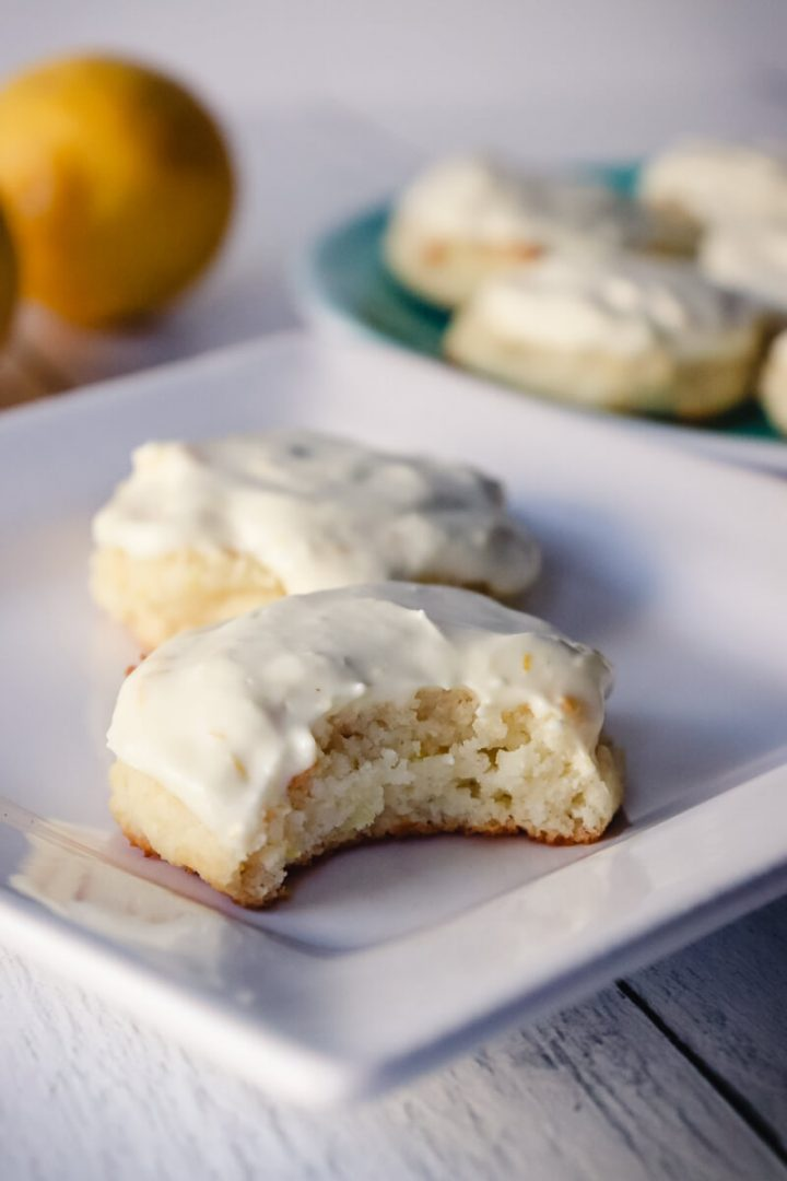 Bite out of a low carb lemon cookie