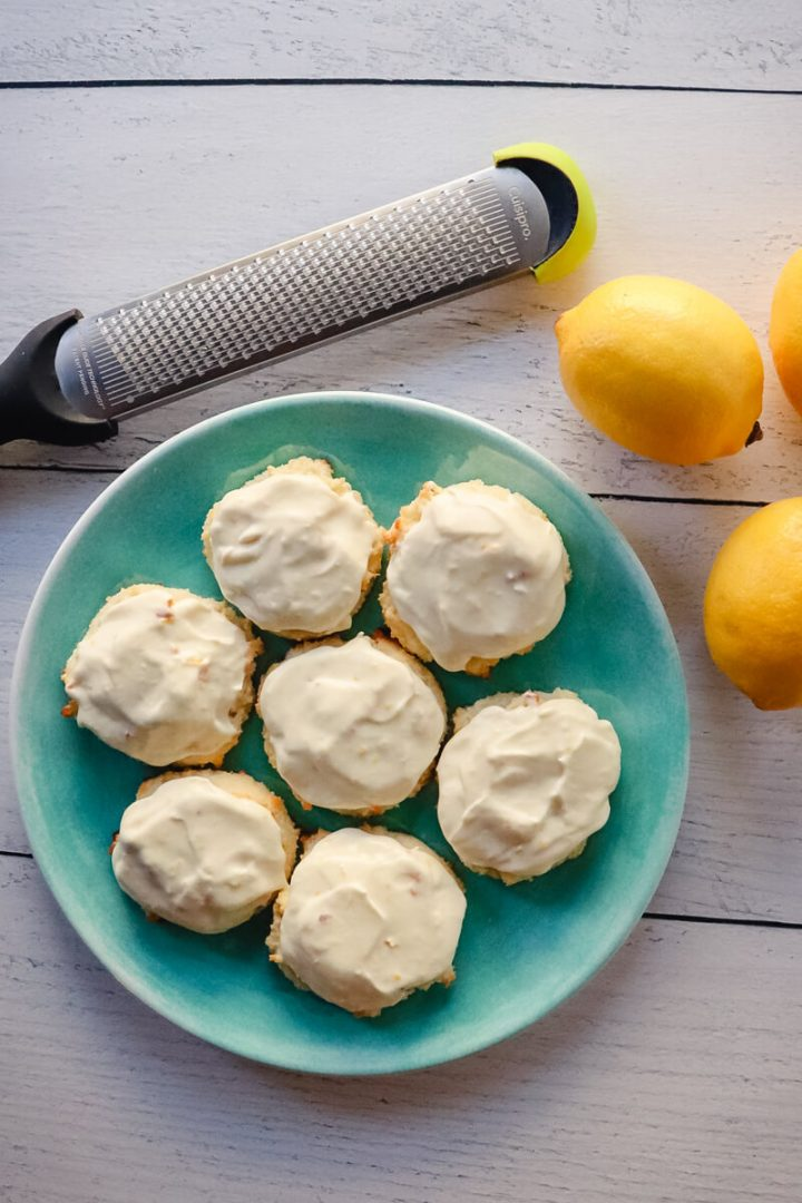 An overhead view of low carb lemon cookies