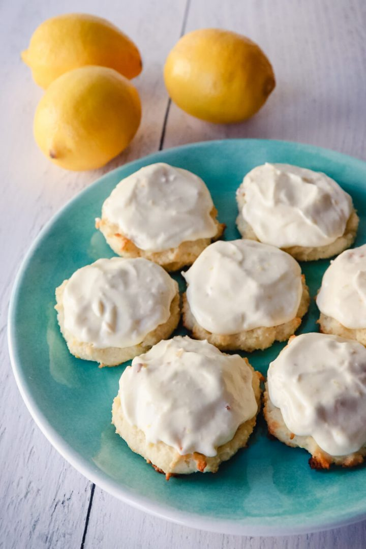Plate of keto low carb lemon cookies