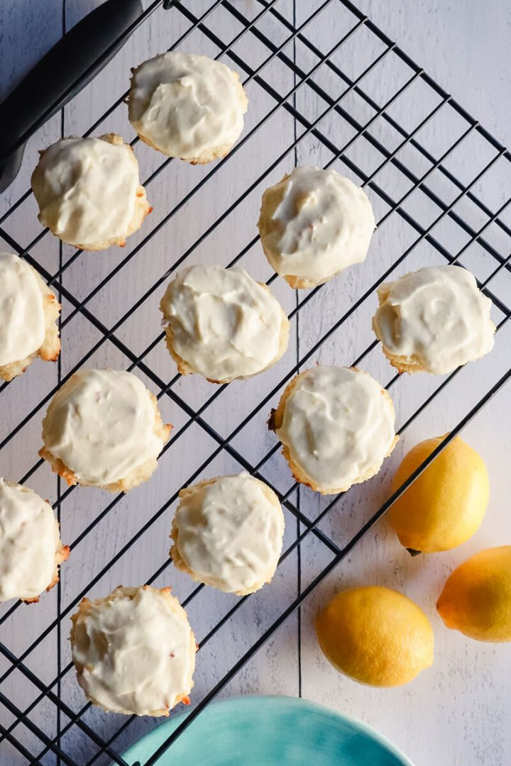 Rack with frosted low carb lemon cookies