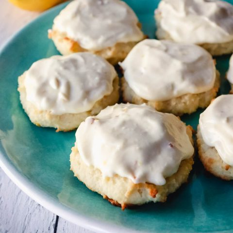 Low carb lemon cookies on a plate
