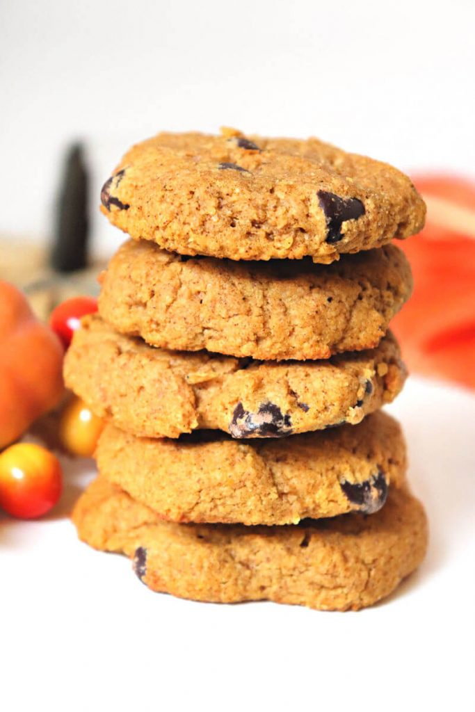 Stack of best spiced keto pumpkin cookies