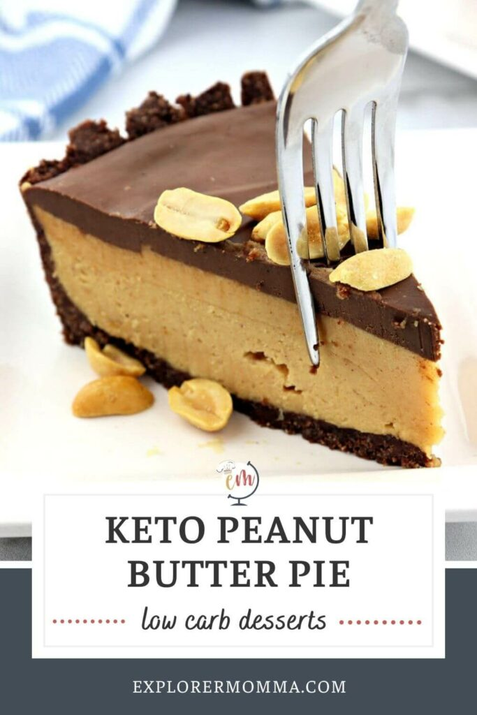 A fork taking a bite out of a piece of keto peanut butter pie