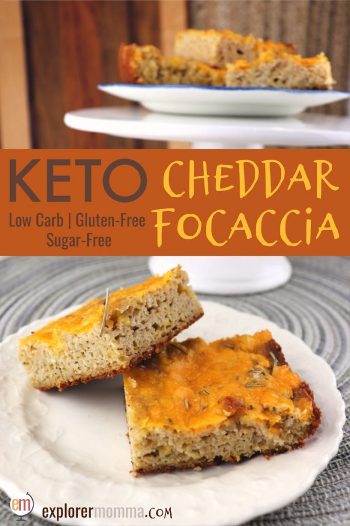 Keto cheddar focaccia is low carb, cheesy heaven! Missing bread? Soft and delicious, this gluten-free bread is perfect with keto soups and salads. #ketobread #lowcarbrecipes