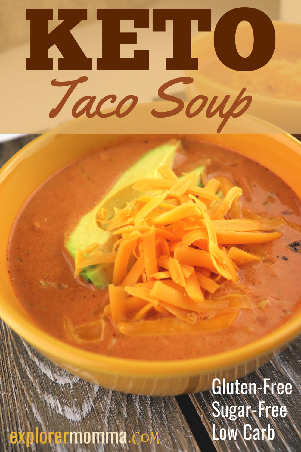 An easy weeknight meal! Keto taco soup is the perfect low carb recipe for an easy family dinner. Gluten-free, a great recipe for your keto diet and ketogenic lifestyle. #ketodinners #lowcarbsoups