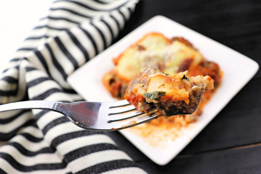 Bite of keto zucchini lasagna #ketolasagna #zucchinilasagna