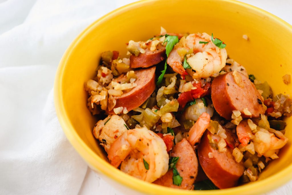 Bowl of keto jambalaya
