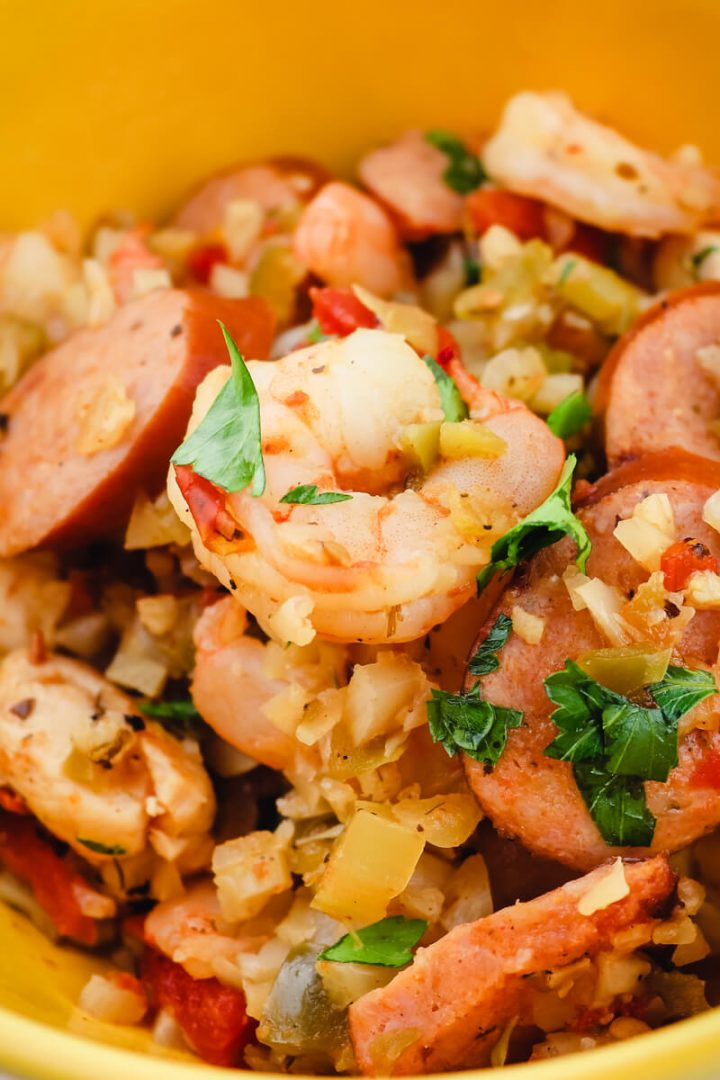 Closeup of keto jambalaya with shrimp on top