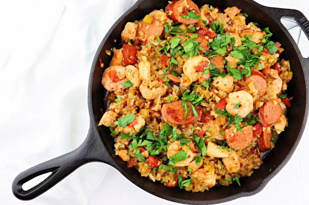 New Orleans style keto jambalaya, made over low carb and gluten-free. #ketomeals #ketorecipes