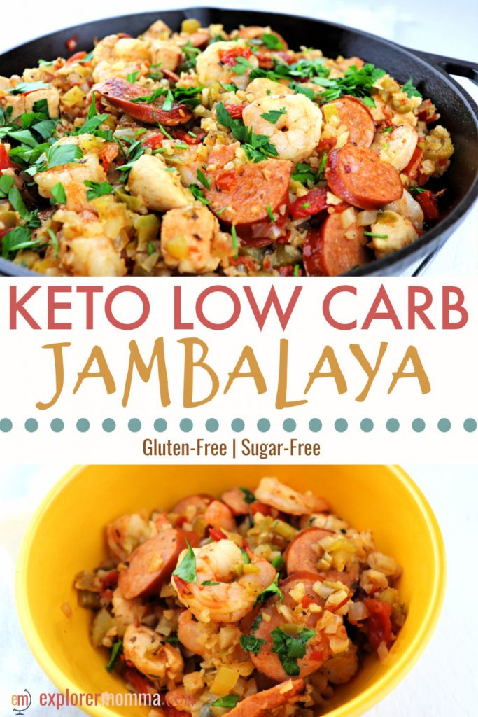 Keto jambalaya will add some spice to your low carb family dinner! Gluten-free with cauliflower rice, andouille sausage, shrimp, and chicken. The perfect one-pot meal. #ketodinners #ketorecipes