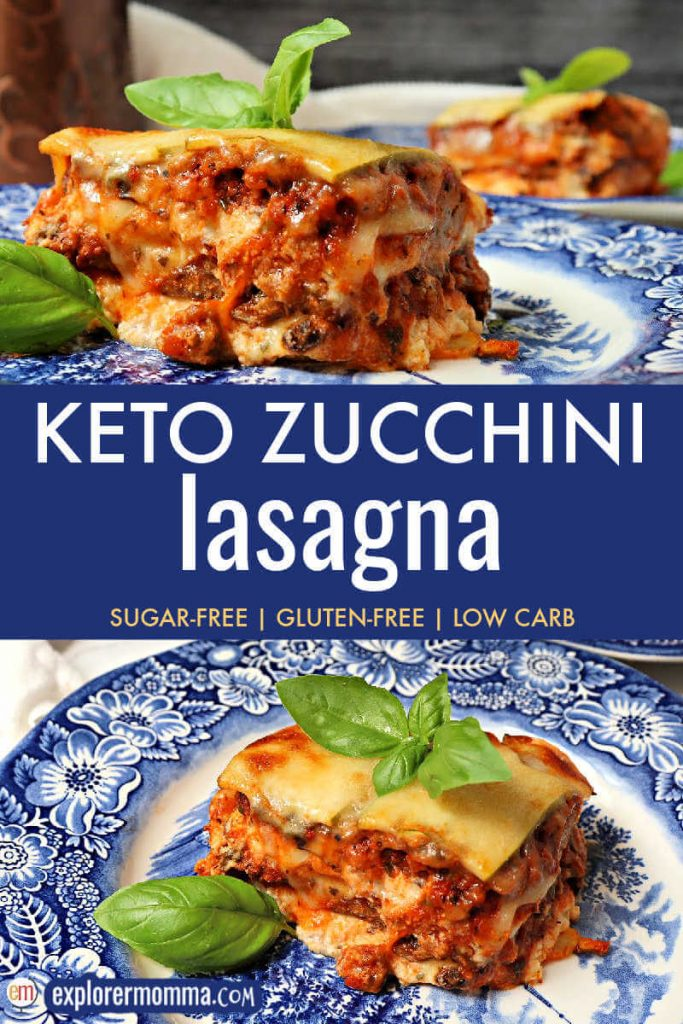 Piece of keto zucchini lasagna with basil