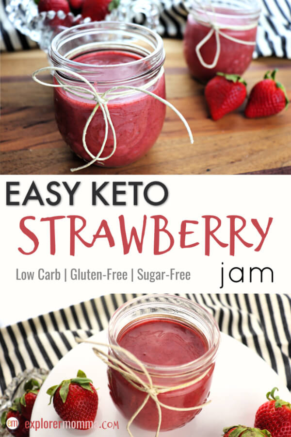 Delicious and easy keto strawberry jam is sugar-free and sure to be perfect on a low carb bread or cookie. Or use it in your favorite gluten-free recipe calling for jam! #ketojam #ketorecipes