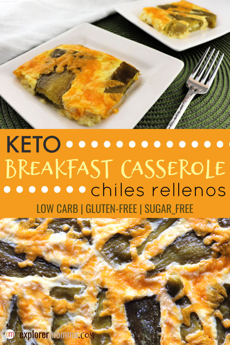 Chiles rellenos keto breakfast casserole is the perfect low carb brunch recipe or gluten-free breakfast. Full of flavor and cheesy goodness, you will want to eat this on your keto diet! #ketobreakfast #lowcarbrecipes