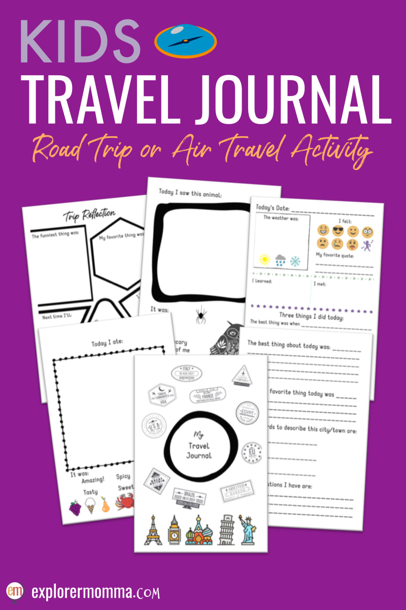 An easy to use kids travel journal is perfect for any family vacation! Whether the kids are on a road trip, airplane, or train it makes a memorable travel diary. #traveljournal #kidstraveljournal