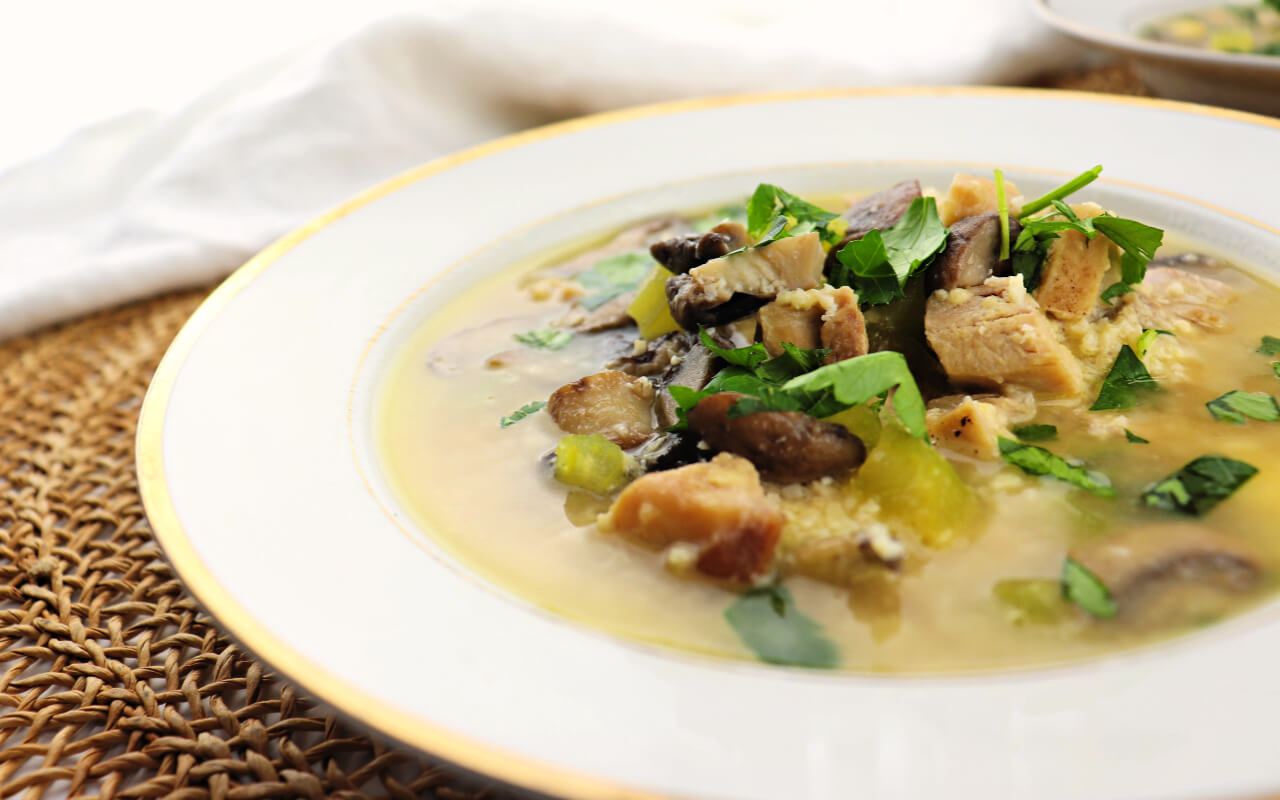Healthy low carb chicken mushroom soup is a lifesaver during cold and flu season! Warm and comforting, a keto twist on a favorite chicken soup recipe. #chickensoup #lowcarbsoup