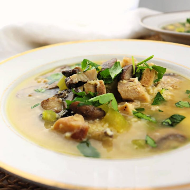 Low carb chicken mushroom soup, healthy ingredients to support your system. #ketosoup #lowcarbsoup