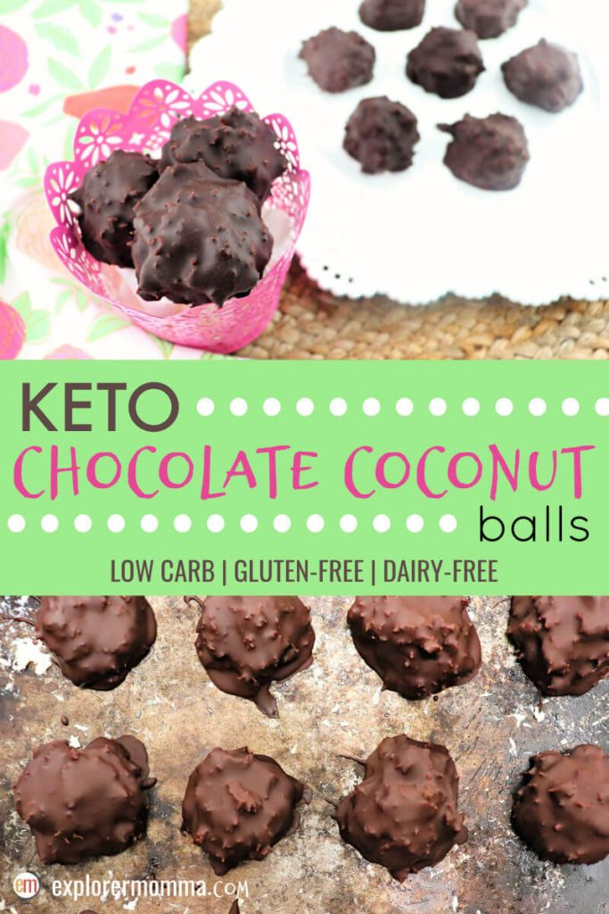 Easter keto chocolate coconut balls are sugar-free, low carb, super-easy, and delicious. Gluten-free with coconut, chocolate, cream, and other goodness. A low carb treat for any holiday. #ketodessert #lowcarbcandy