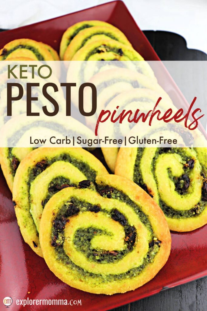 Delicious keto pesto pinwheels make the perfect low carb appetizer or snack to take to any party or gathering! Gluten-free snacks and full of basil, garlic, sun-dried tomato and parmesan with none of the guilt. #ketorecipe #lowcarbappetizer