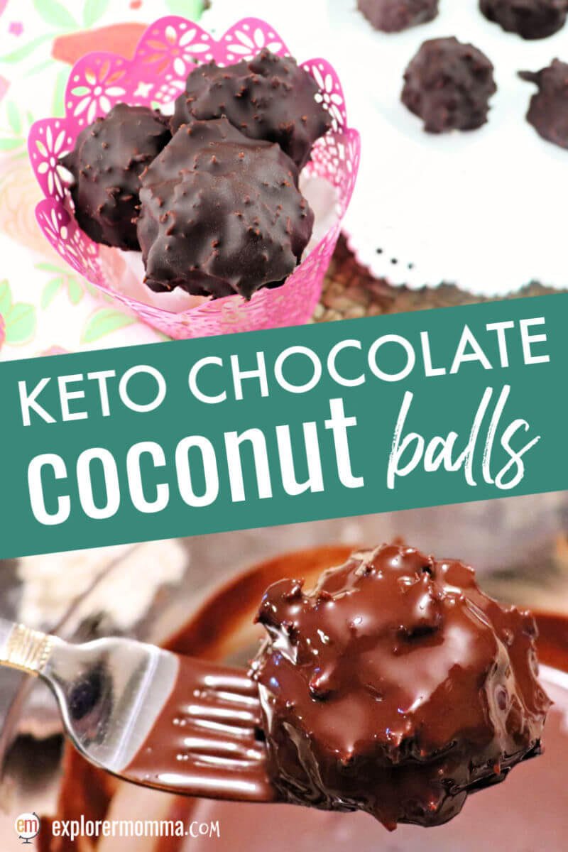 Keto chocolate coconut balls are the answer for low carb candy. Easter candy, take that! These are a delicious sugar-free chocolate coconut treat. #ketochocolate #ketoeaster #ketocandy