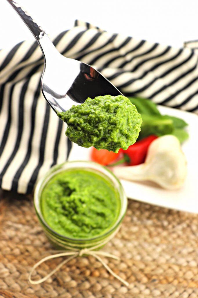 Lovely silver spoon of green keto pesto #ketorecipes #lowcarbrecipes