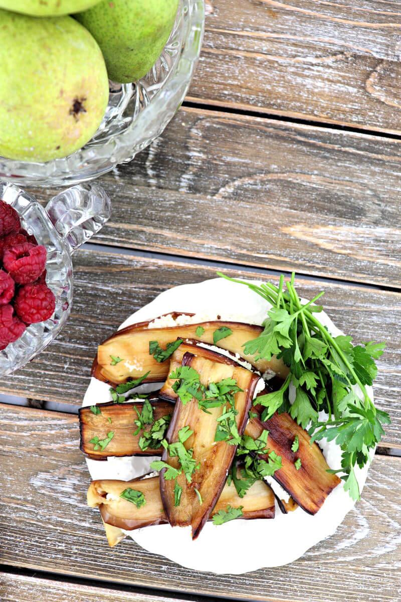 Georgian eggplant with walnuts on a plate, badrijani nigvzit #georgianfoods #lowcarbsides
