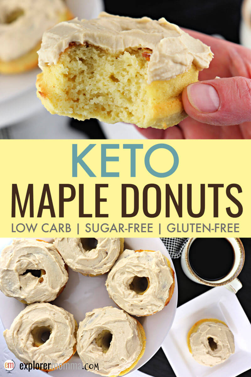 The best keto maple donuts are low carb, sugar-free, gluten-free AND moist and delicious. Perfect for parades and summer activities. #ketodonuts #lowcarbdonuts